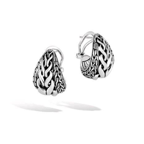Asli Classic Chain Link Silver Buddha Belly Earrings