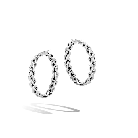 Asli Classic Chain Link Silver Medium Diamond Hoop Earrings