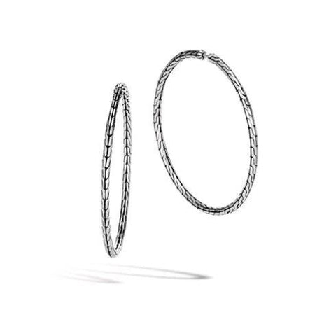 Classic Chain Silver Large Diamond Hoop Earrings