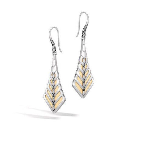 Modern Chain 18K Gold & Silver Drop Earrings on French Wire