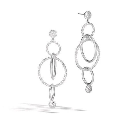 Dot Hammered Silver Orbital Long Drop Earrings