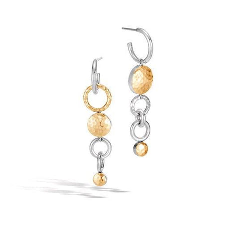 Dot Hammered 18K Gold & Silver Mismatched Interlink Drop Earrings