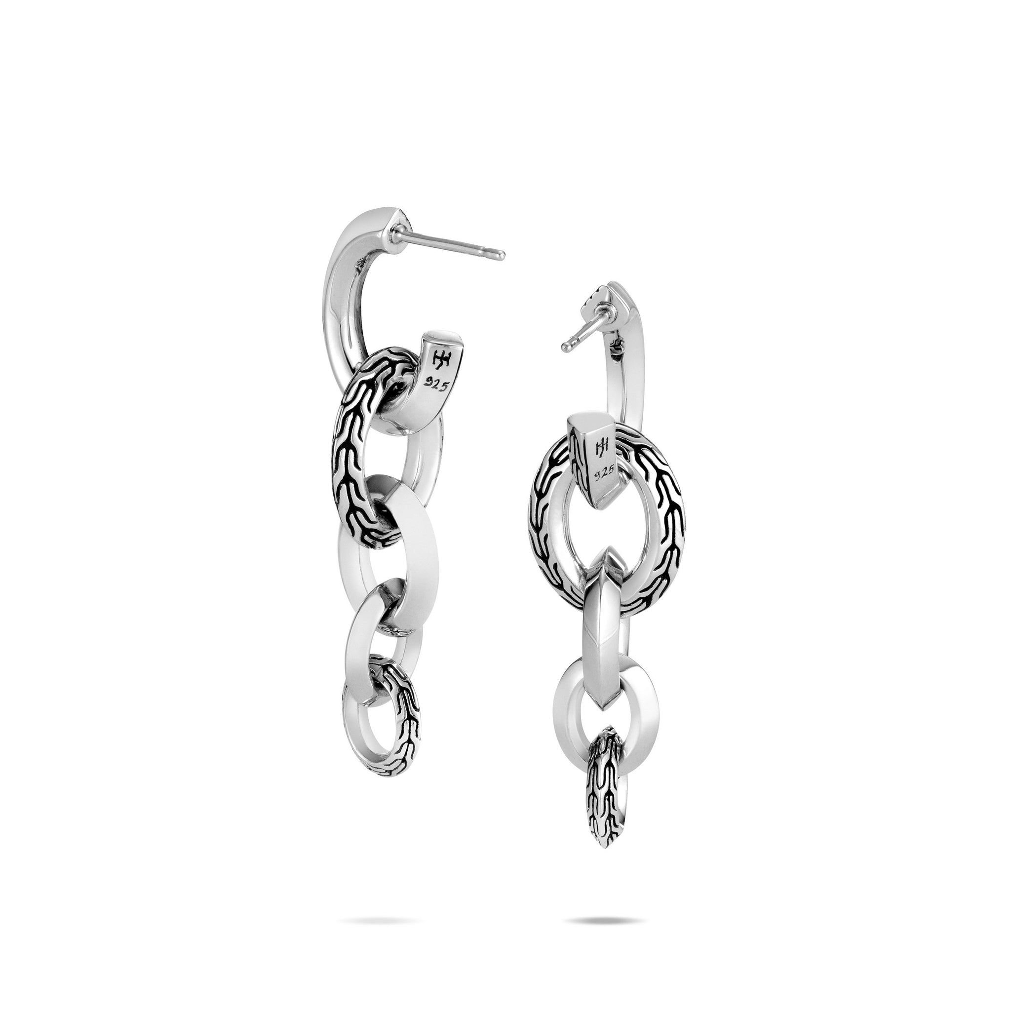 Classic Chain Silver Knife Edge Interlink Long Drop Earrings
