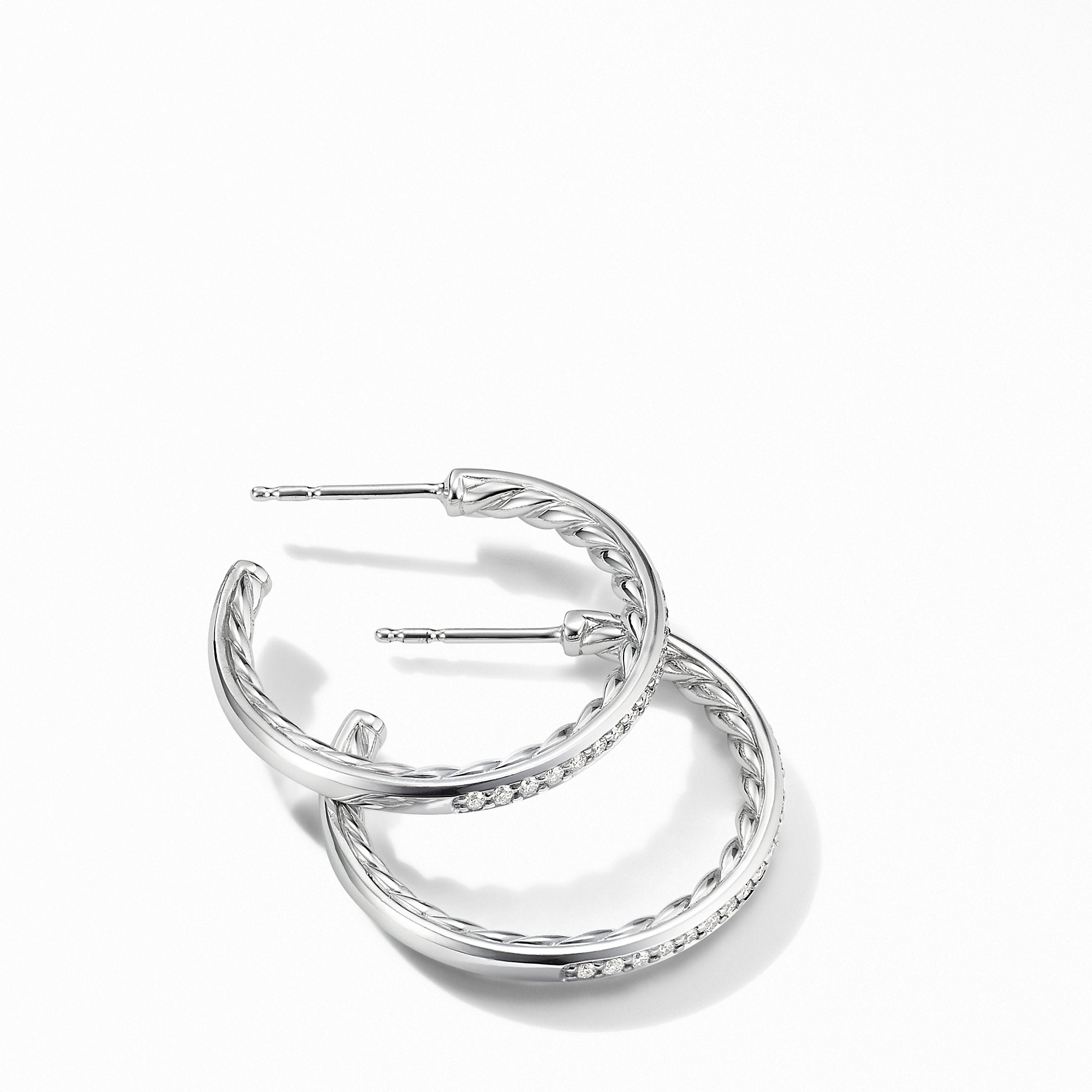 Small Hoop Earrings with Pavé Diamonds