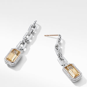 Novella Chain Link Drop Earrings with Champagne Citrine, Pavé Diamonds and 18K Rose Gold