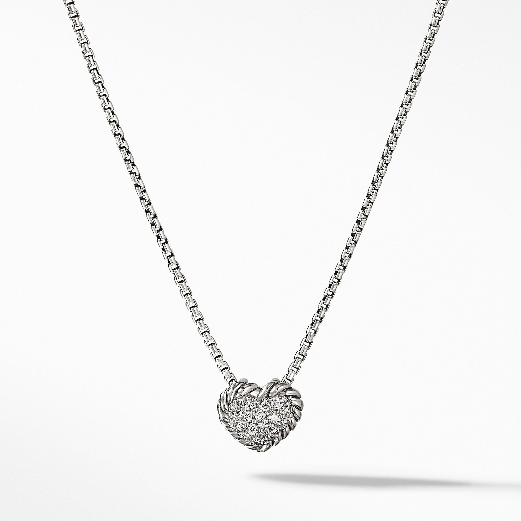Petite Pave Heart Pendant Necklace with Diamonds