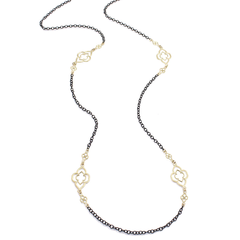 "18K Yellow and Sterling Silver 37"" Cable Chain"