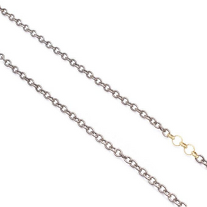 18K Yellow and Sterling Silver Textured Circle Chain Necklace