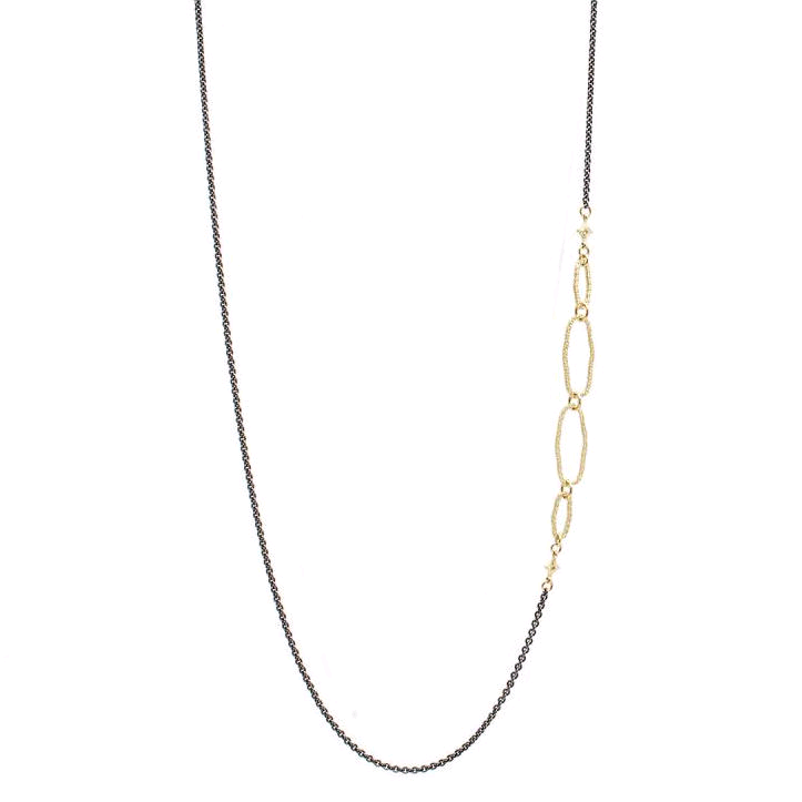 18K Yellow and Sterling Silver Textured Oval Chain Necklace