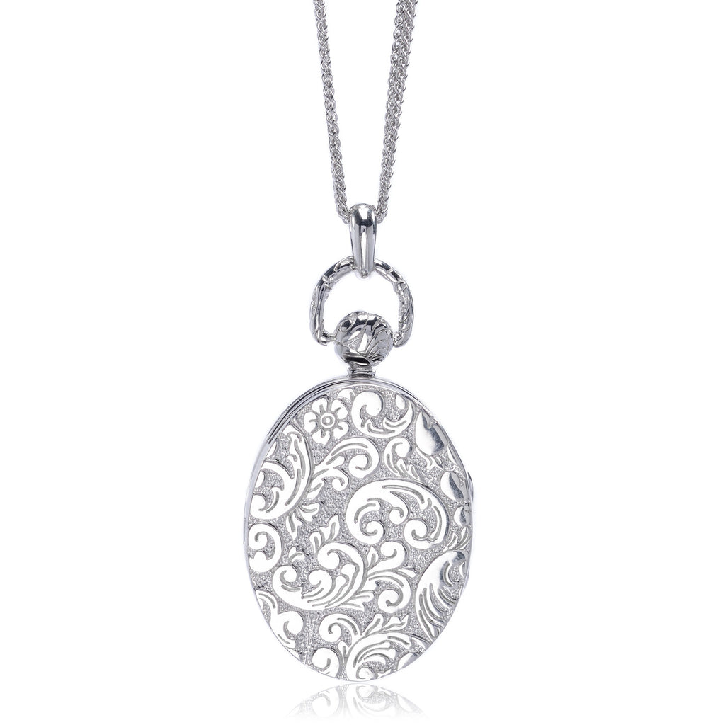 Sterling Silver Mother of Pearl Oval Pocket Watch Locket