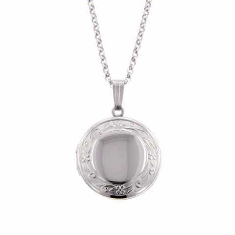 Sterling Silver Small Round Locket with Floral Edge
