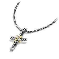 Cable Collectibles X Cross Necklace with Diamonds and 14K Gold