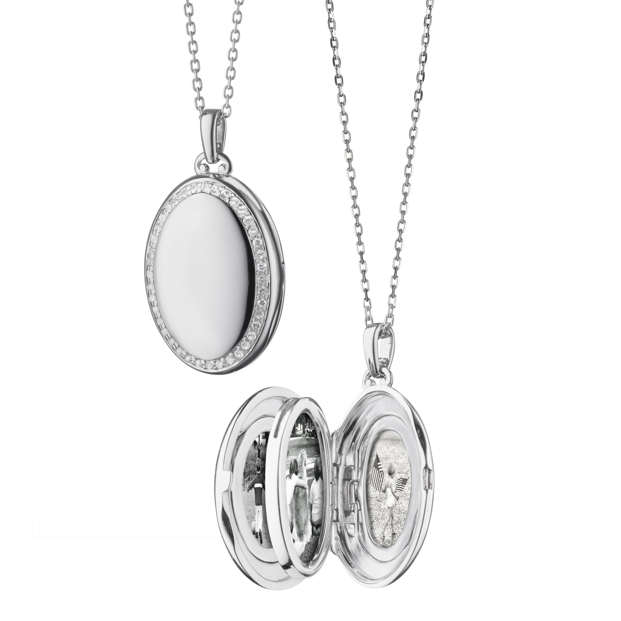 "Sterling Silver Four ""Midi"" Sapphire Locket"