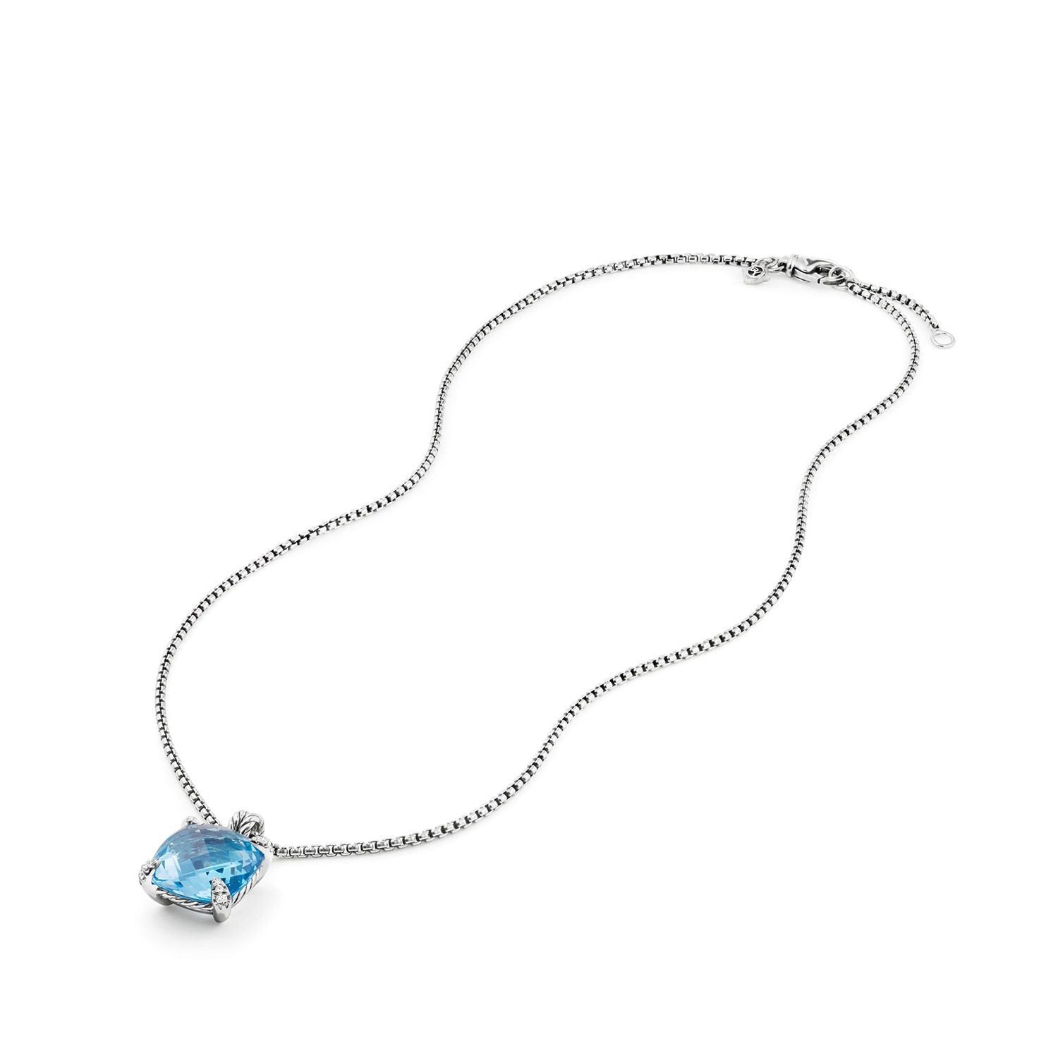 Chatelaine® Pendant Necklace with Blue Topaz and Diamonds 1