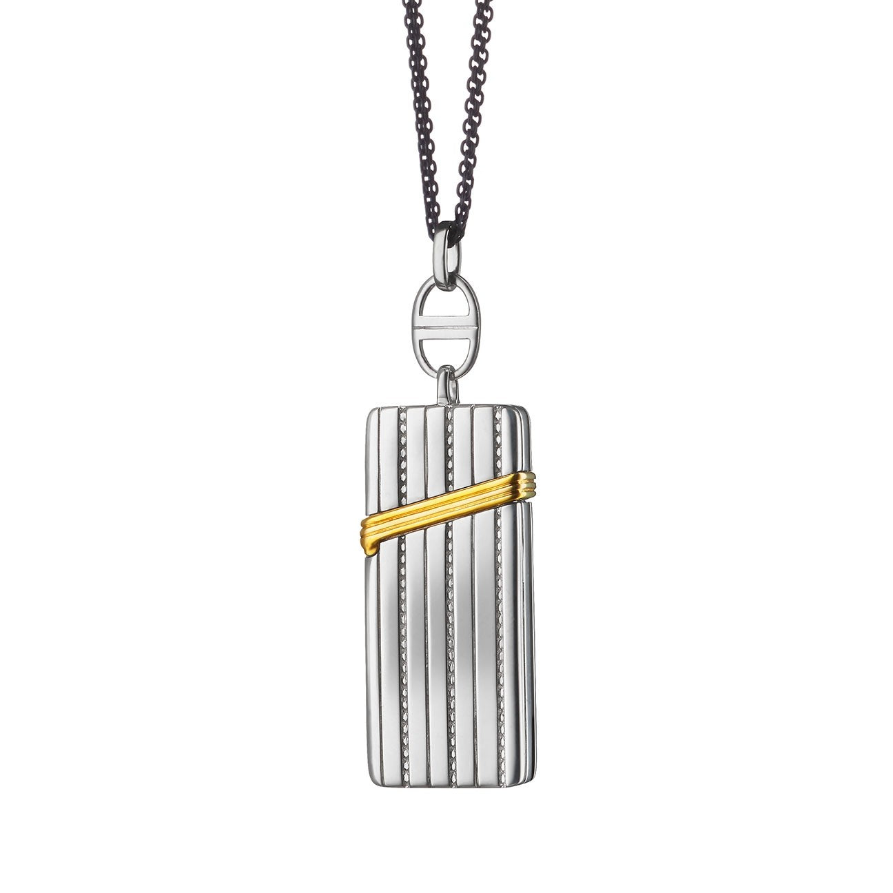 "Secret Message ""Vesta"" Case Two-Tone Charm Necklace"