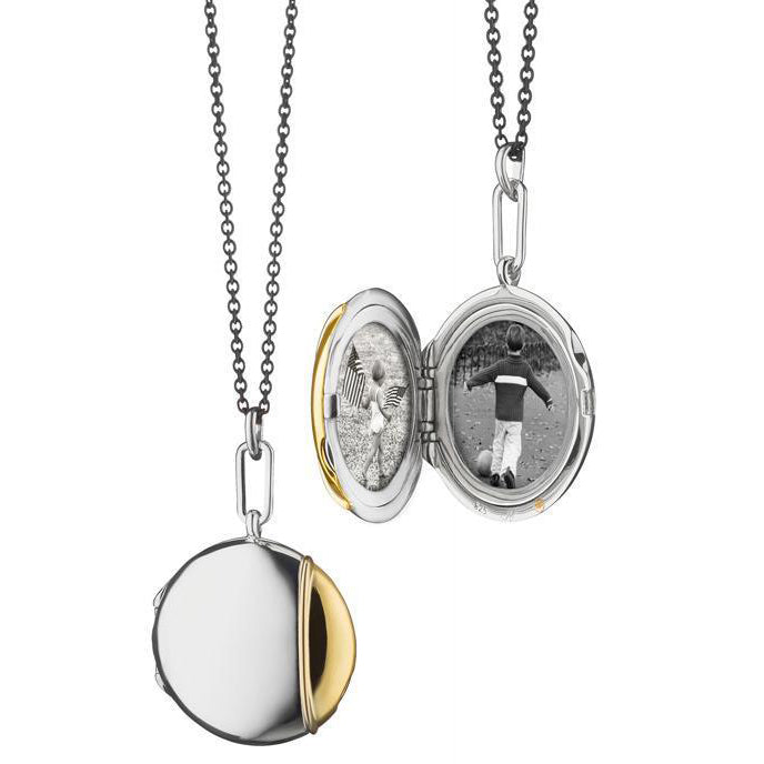 Sterling Silver and 18K Yellow Gold Locket Necklace
