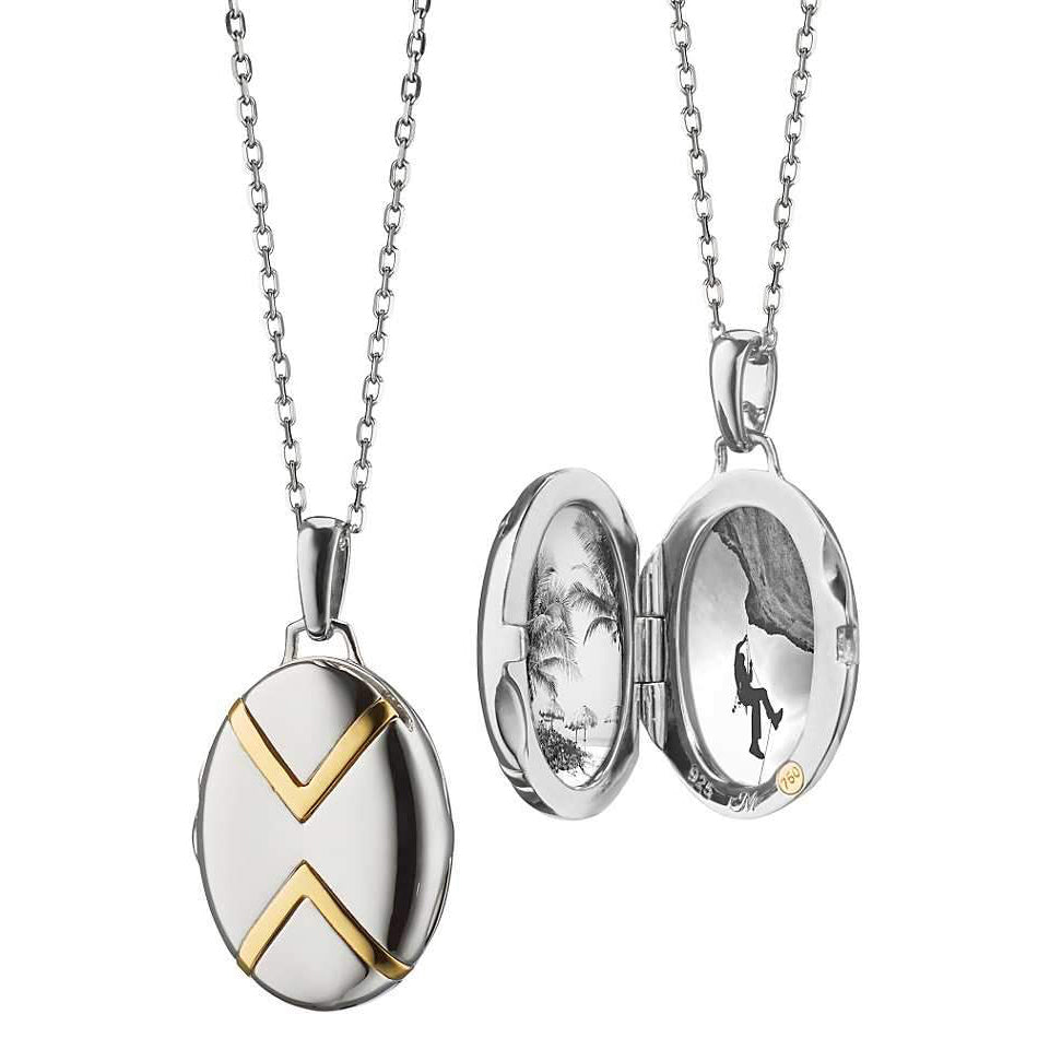Oval Two-Tone Locket with Chevron Detail