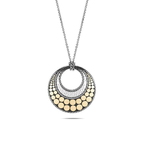 Dot Hammered 18K Gold & Silver Round Pendant on Rolo Chain Necklace