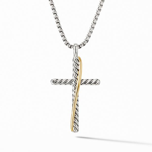 Crossover Cross Necklace with 18K Yellow Gold