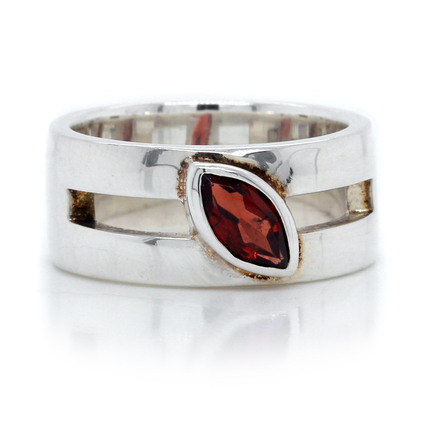 Sterling Silver Marquise Cut Garnet Wide Ring