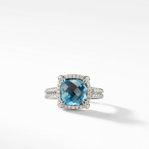 Chatelaine Pave Bezel Ring with Hampton Blue Topaz and Diamonds, 9mm