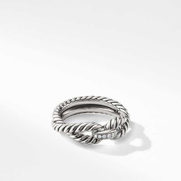 Cable Loop Ring with Diamonds