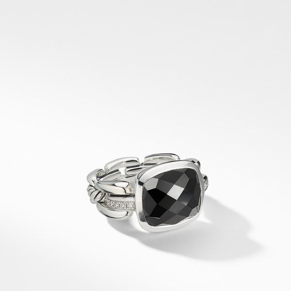 Wellesley Link Statement Ring with Black Onyx and Diamonds