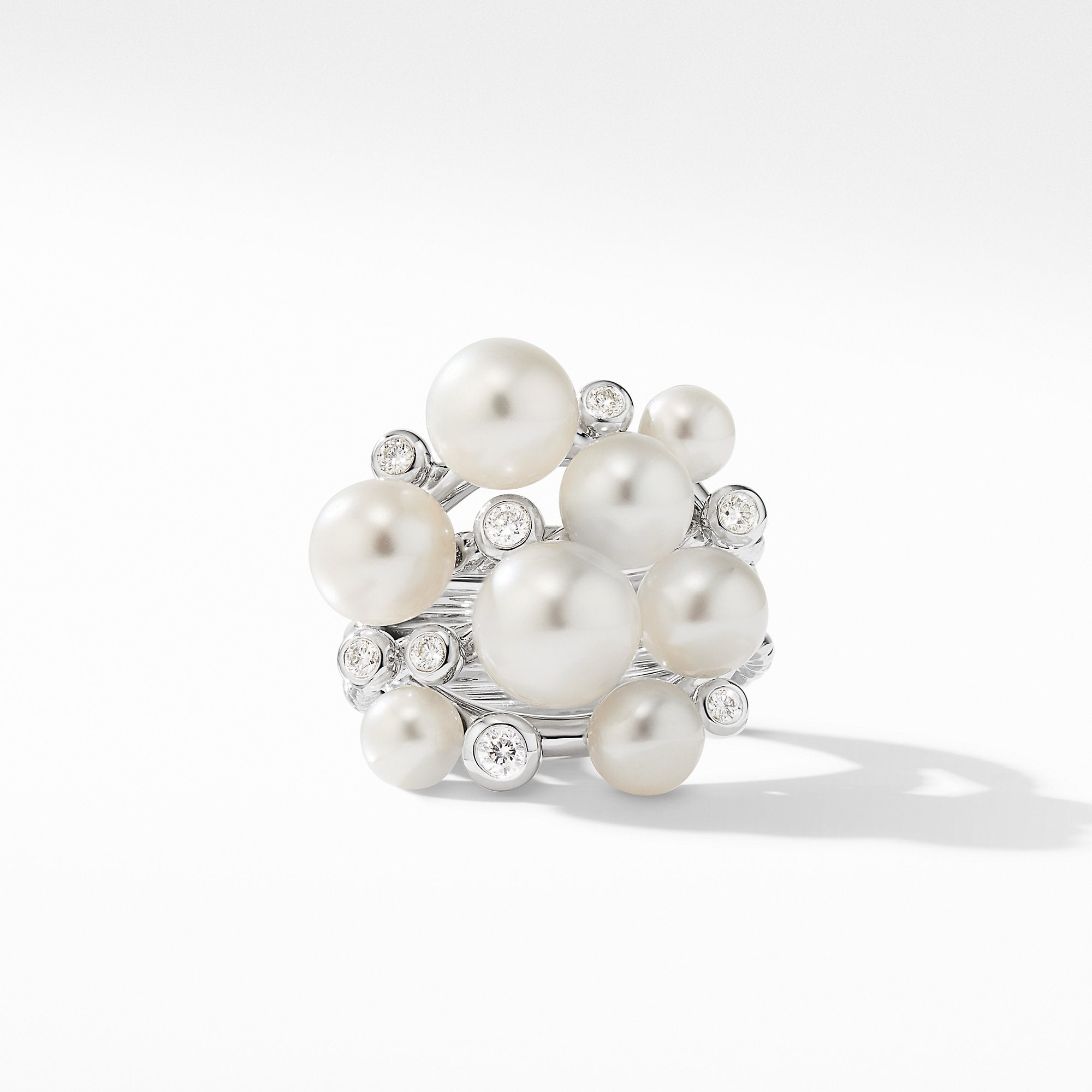 Large Pearl Cluster Ring with Diamonds