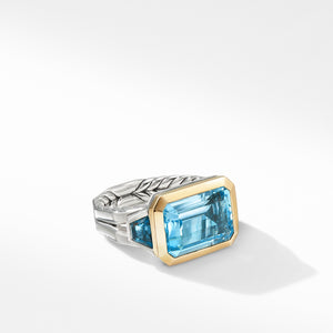 Novella Three Stone Ring with Blue Topaz and 18K Yellow Gold