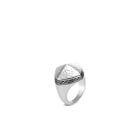Classic Chain Hammered Silver Cluster Sugarloaf Ring