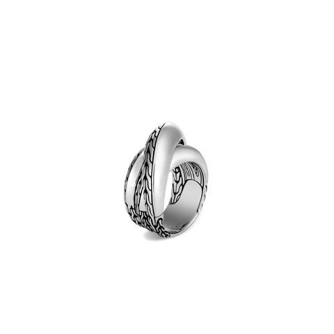 Classic Chain Silver Knife Edge Crossover Ring