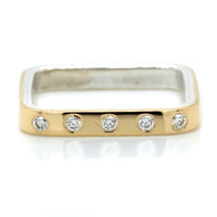 18K Yellow Gold and Sterling Silver Diamond Square Ring