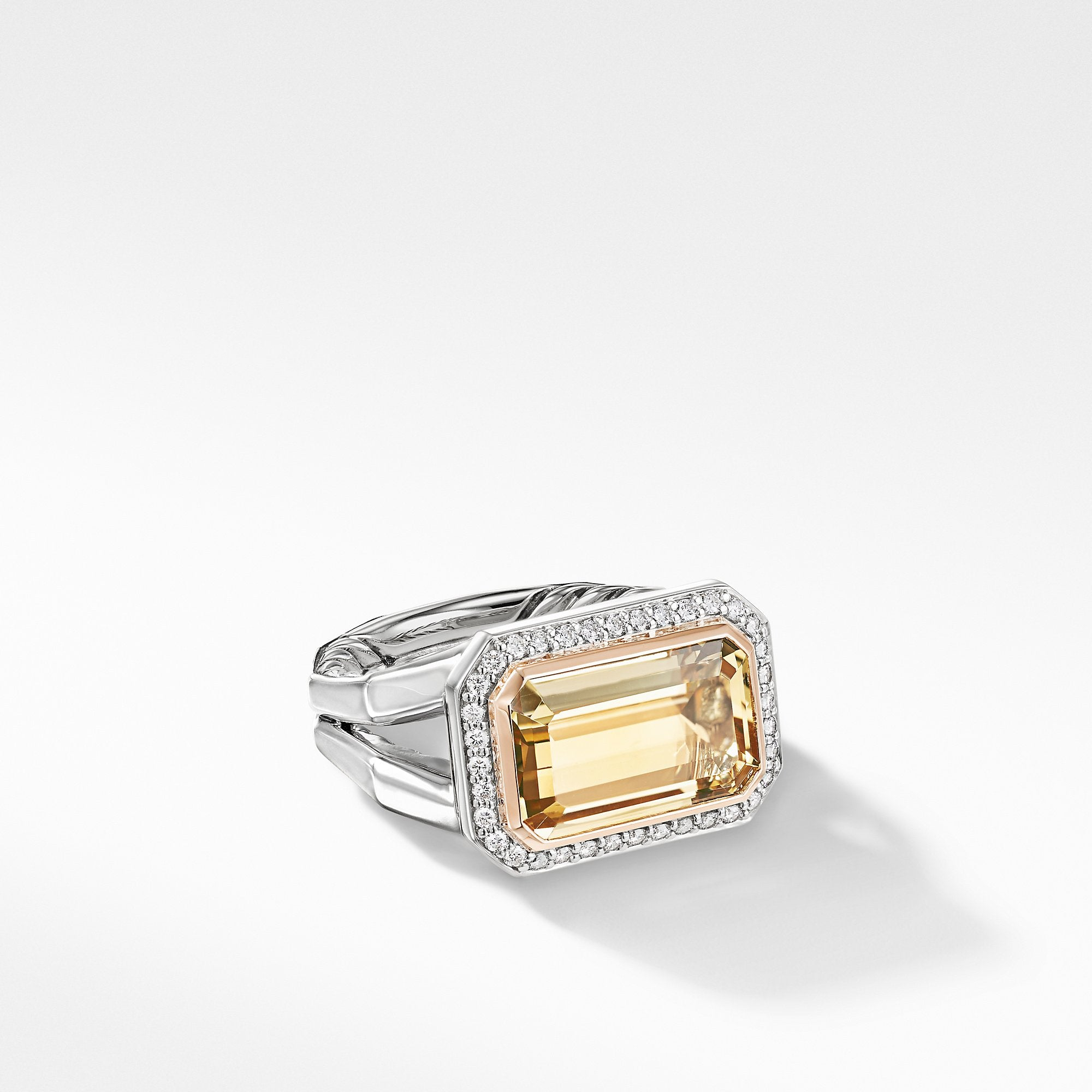 Novella Statement Ring with Champagne Citrine, Pavé Diamonds and 18K Rose Gold