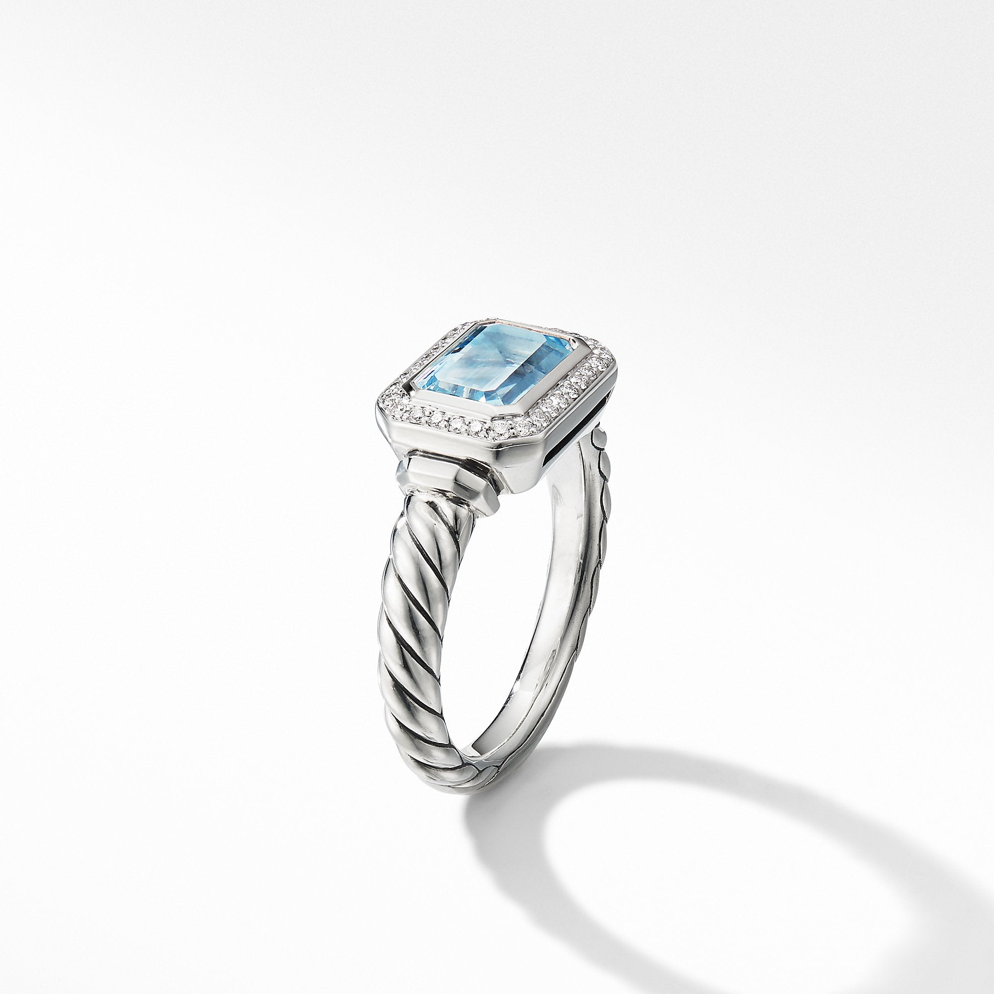 Novella Ring with Blue Topaz and Pavé Diamonds