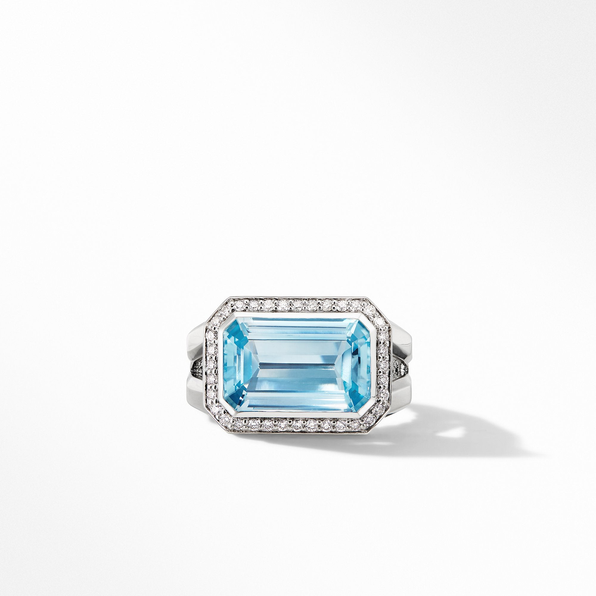 Novella Statement Ring with Blue Topaz and Pavé Diamonds
