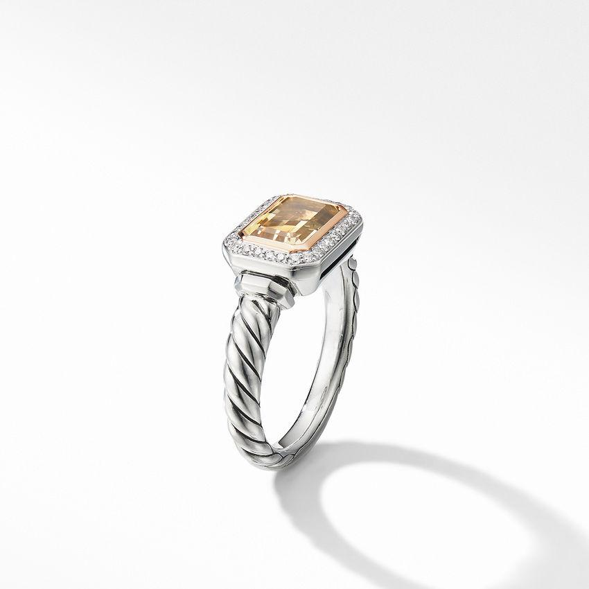 Novella Ring with Champagne Citrine, Pavé Diamonds and 18K Rose Gold