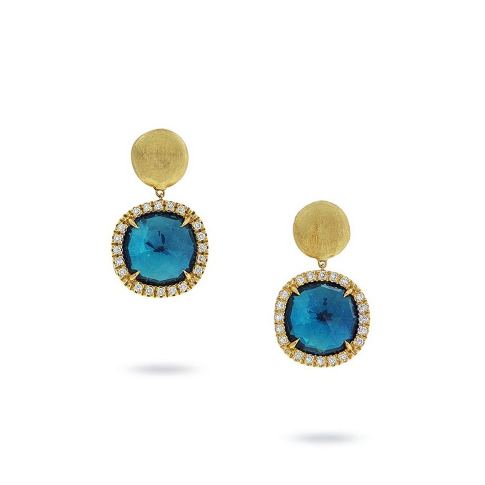 Jaipur 18K Yellow Gold Blue Topaz Earrings