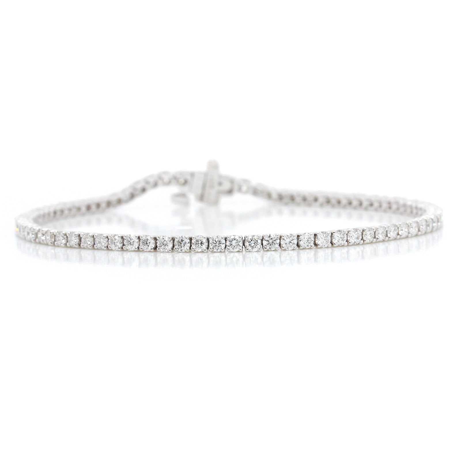 14K White Gold Four Prong Diamond Bracelet