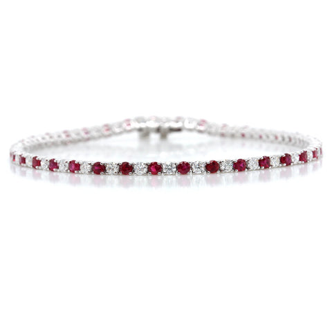 14K White Gold Round Alternating Ruby and Diamond Bracelet