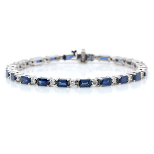 14K White Gold Sapphire and Diamond Bracelet