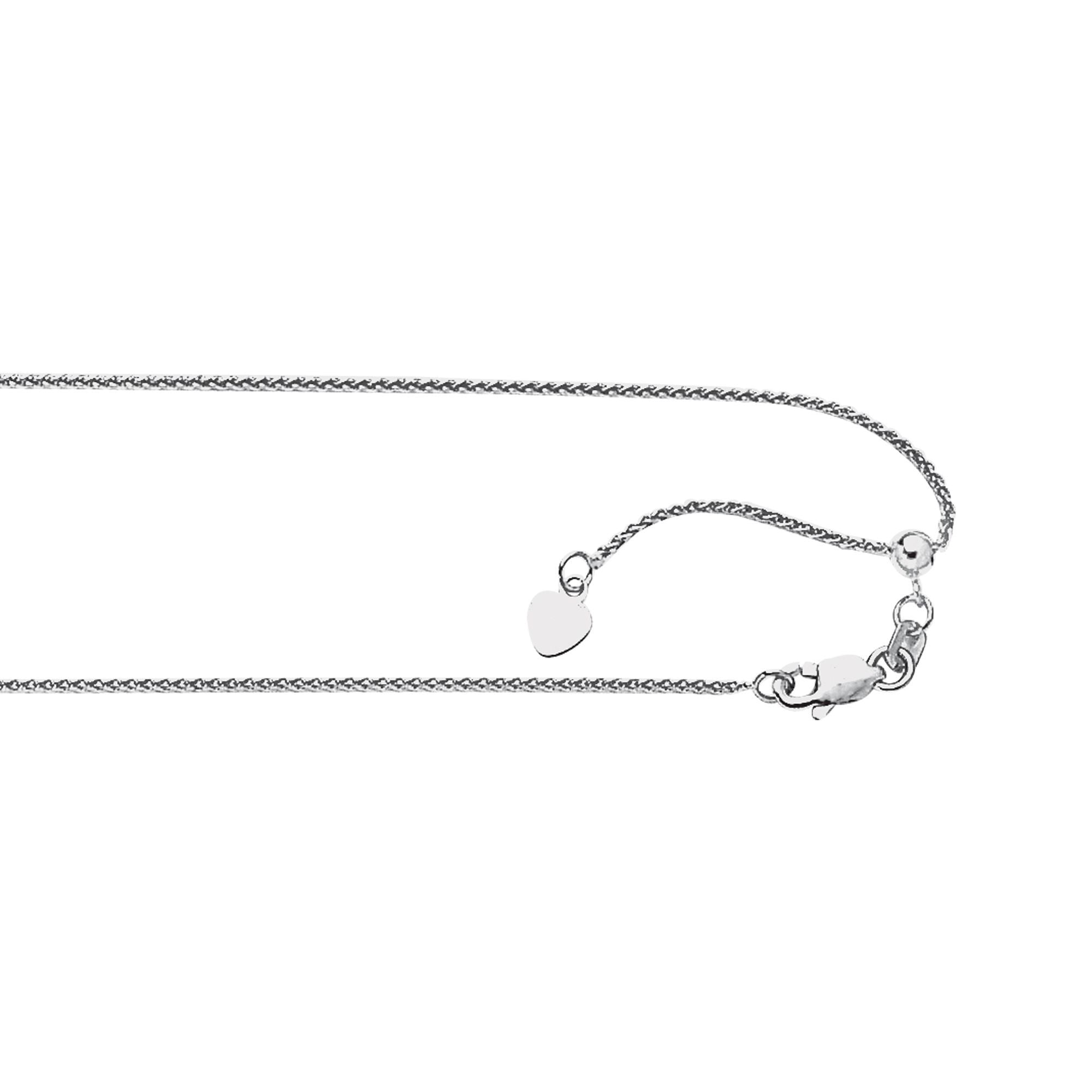 14K White Gold Wheat Chain