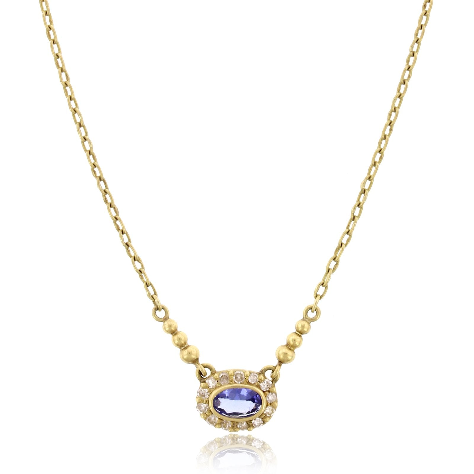 18K Yellow Gold Tanzanite and Diamond Suspension Necklace