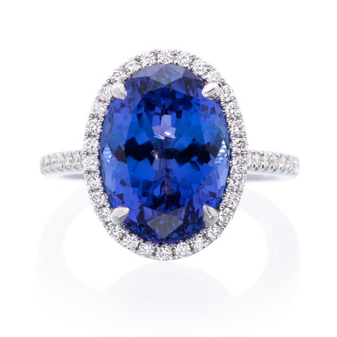 18K White Gold Tanzanite Diamond Halo Ring