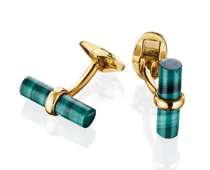 18K Yellow Gold Malachite Bar Cufflinks