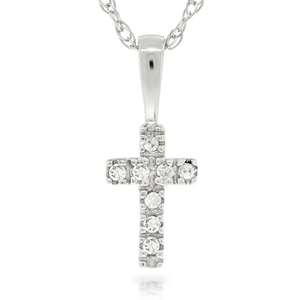 14K White Gold Child's Cross Necklace with Diamonds