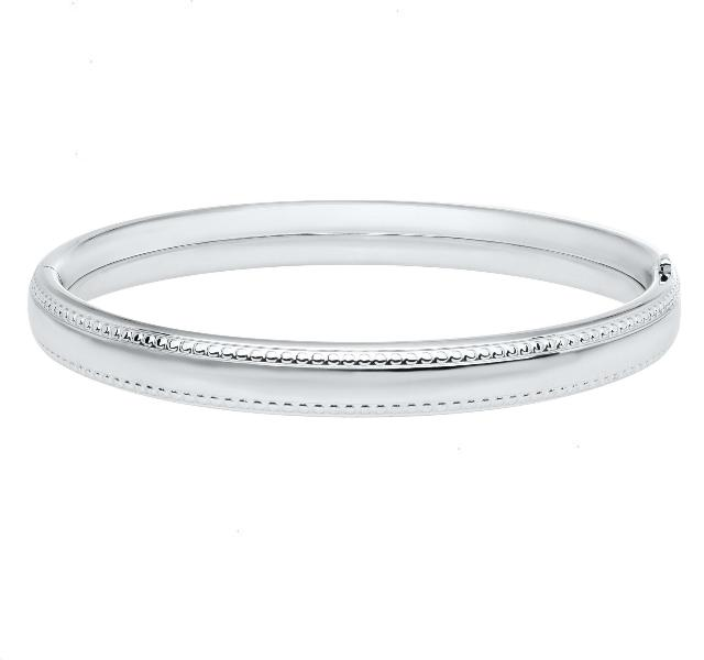 Child's Sterling Silver Beaded Edge Bangle
