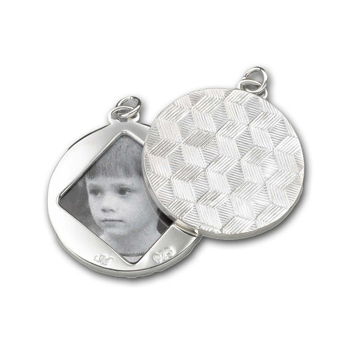 Sterling Silver Honeycomb Half-Locket Charm