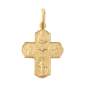 14K Yellow Gold Scapular Cross Pendant
