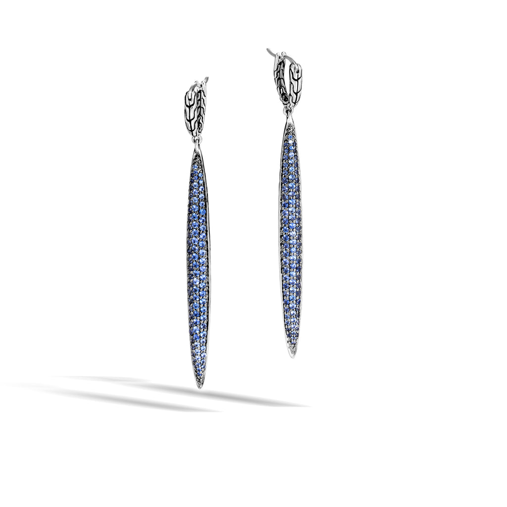 Classic Chain Silver Blue Sapphire Drop Earrings