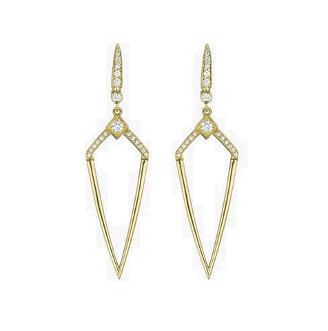 18K Yellow Gold Deco Diamond Shape Earrings